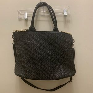 Black Woven Leather Tote